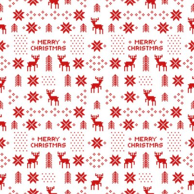 Poster seamless retro red christmas pattern with deers, trees and snowflakes