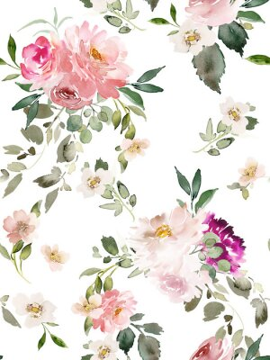 Poster Seamless summer pattern with watercolor flowers handmade.