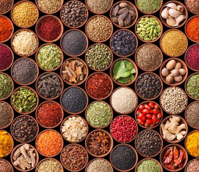 Poster Seamless texture with spices and herbs