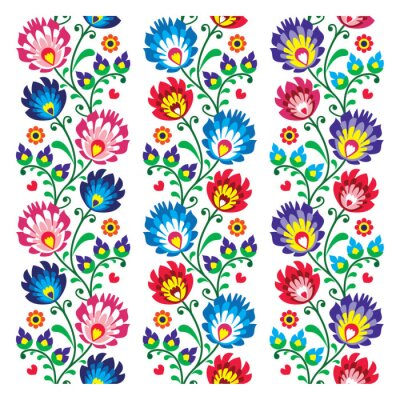 Poster Seamless traditional folk polish pattern - seamless embroidery