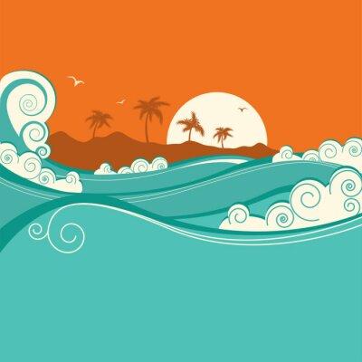 Poster Seaside background.Vector illustration