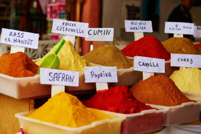 Poster Selection of spices on a Moroccan market