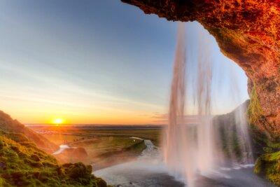 Poster Seljalandsfoss Waterfall at sunset, Iceland