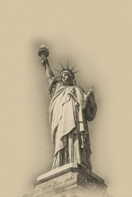 Poster Sepia toned artistic image of Statue of Liberty