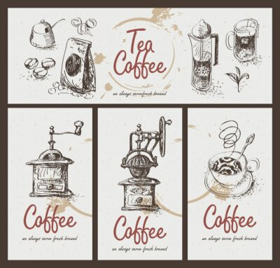 Poster set drawing utensils for drinking tea and coffee