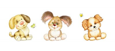 Poster Set of 3 cute puppies