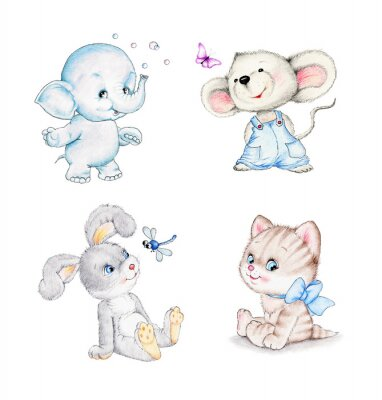 Poster Set of animals: elephant, mouse, kitten, bunny