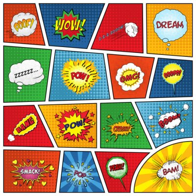 Poster Set of comic sound effects