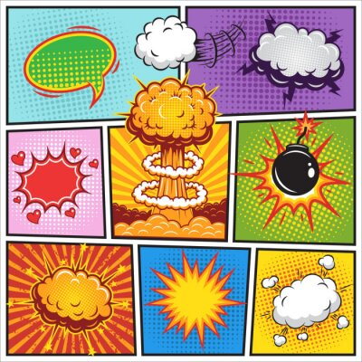 Poster Set of comics speach and explosion bubbles 2
