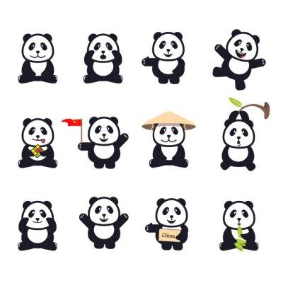 Poster set of cute funny cartoon pandas