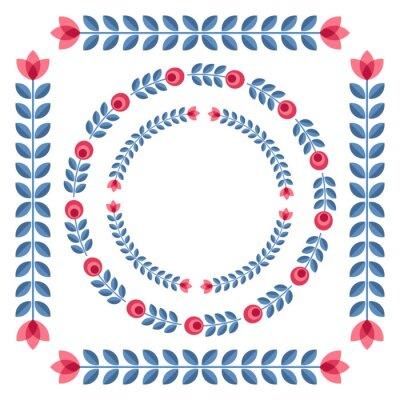 Poster Set of design elements - round floral frames