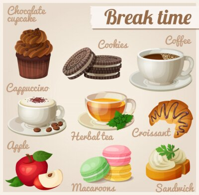 Poster Set of food icons. Break time.