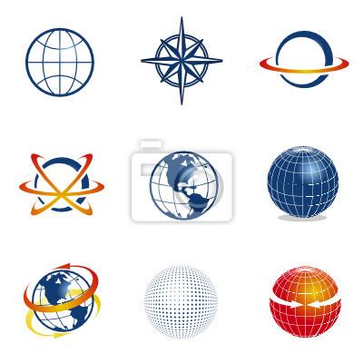 Set of globe/navigation icons