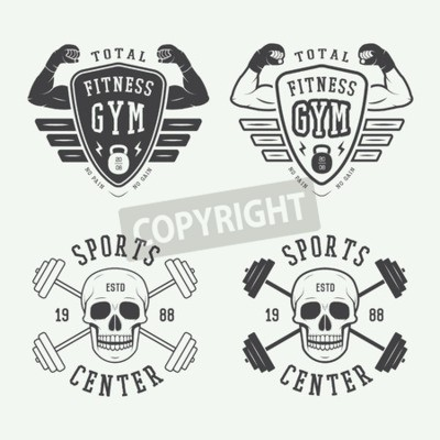 Poster Set of gym logos, labels and badges in vintage style
