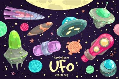 Poster Set of hand-drawn UFO