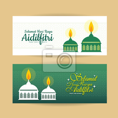 poster set of hari raya aidilfitri banner design vector muslim oil lamp pelita