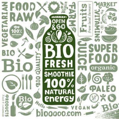 Poster Set of organic labels and icons for natural bio food products