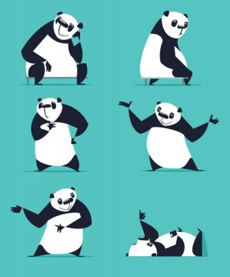 Poster Set of Panda in various poses. Sitting, dreaming, thinking, showing, lying, inviting, turning. Each Panda is in separate layer.