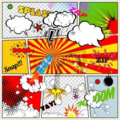 Poster Set of Retro Comic Book Vector Design elements, Speech and Thought Bubbles