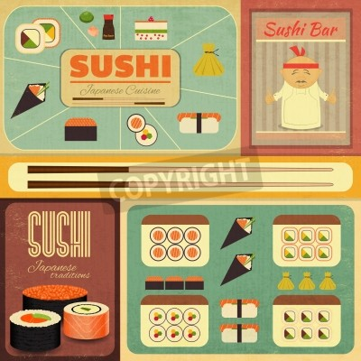 Poster Set of Retro Sushi Labels in Vintage Style. Vector Illustration.