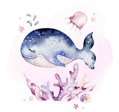 Poster Set of sea animals. Blue watercolor ocean fish, turtle, whale and coral. Shell aquarium background. Nautical marine hand painted illustration.
