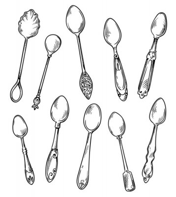 Poster Set of spoons, vector hand drawn illustration