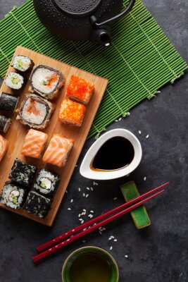 Poster Set of sushi and maki roll and green tea