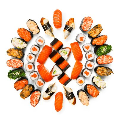Poster Set of sushi, maki, gunkan and rolls isolated at white