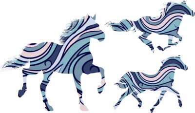 Poster Set of three blue patterned silhouettes of running horses