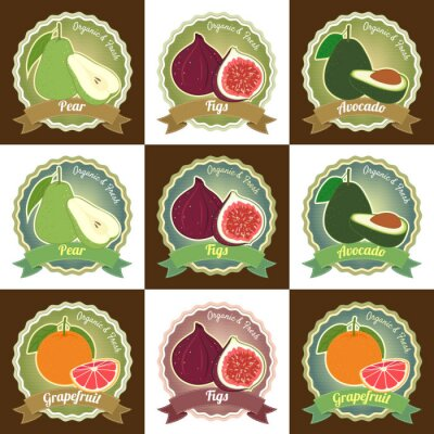 Poster Set of various fresh fruits premium quality tag label badge sticker