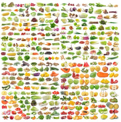Poster set of vegetable and fruit on white background