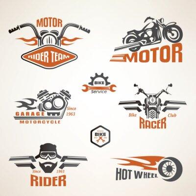 Poster Set of vintage motorcycle labels, badges and design elements