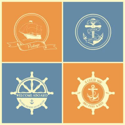 Poster Set Of Vintage Retro Nautical Badges And Labels