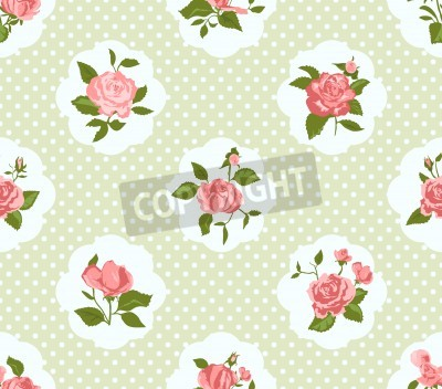 Poster Shabby Chic Rose Pattern and seamless background. Ideal for printing onto fabric and paper or scrap booking. Cottage chic style.