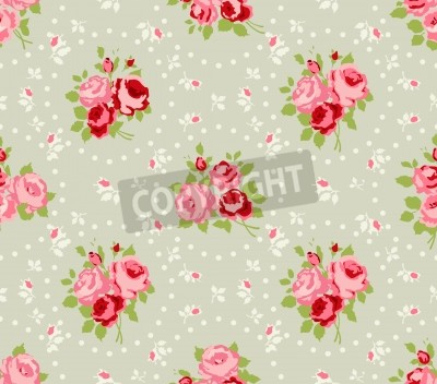 Poster Shabby Chic Rose Patterns and seamless backgrounds