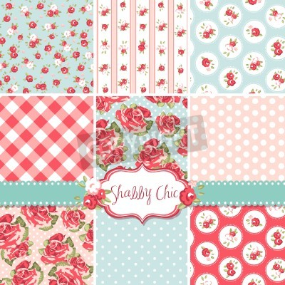 Poster Shabby Chic Rose Patterns and seamless backgrounds. Ideal for printing onto fabric and paper or scrap booking.