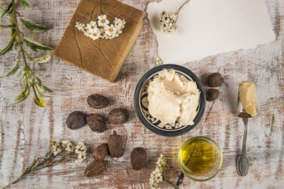 Poster Shea butter with shea product and nuts