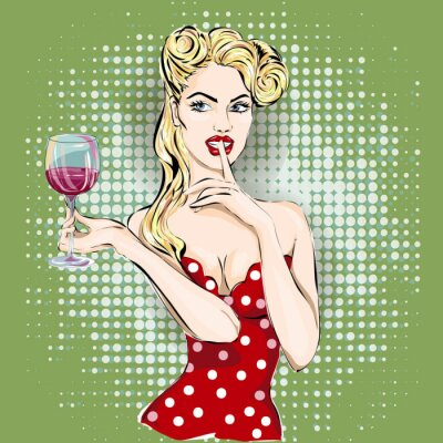 Poster Shhh pop art woman face with finger on her lips and glass of wine