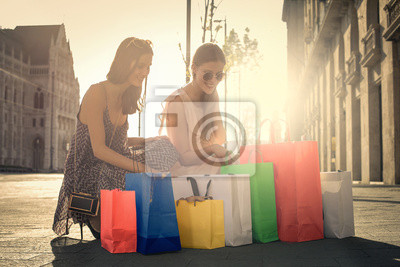 Shopping in a sunny day