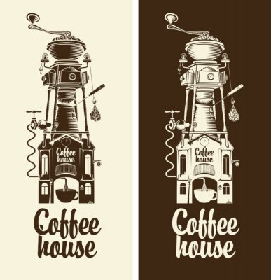 Poster Sign Retro coffee house and grinder with roof
