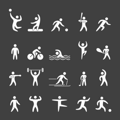 Poster Silhouette figures of athletes popular sports