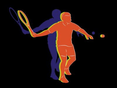 Poster silhouette tennis player , vector drawing