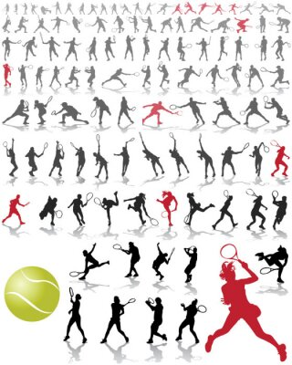 Poster Silhouettes and shadows of tennis players, vector illustration