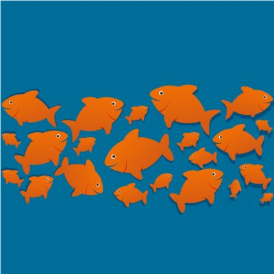 Poster silhouettes poissons