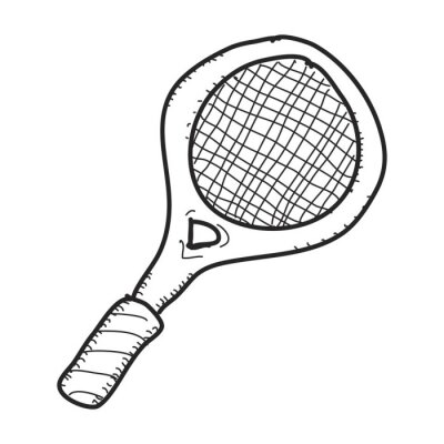 Poster Simple doodle of a tennis racket