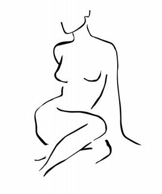 Poster Simple hand drawn trendy line silhouette woman. Modern minimalism art, aesthetic contour. Abstract women's silhouette, minimalist style. Scandinavian print
