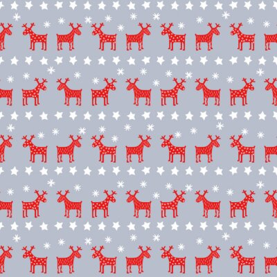 Poster Simple seamless retro Christmas pattern - Xmas reindeers, stars and snowflakes. Happy New Year background. Vector design for winter holidays on grey background.