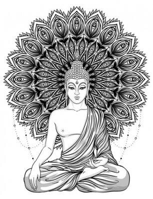Poster Sitting Buddha over ornate rose flower. Esoteric vintage vector illustration. Indian, Buddhism, spiritual art. Hippie tattoo, spirituality, Thai god, yoga zen