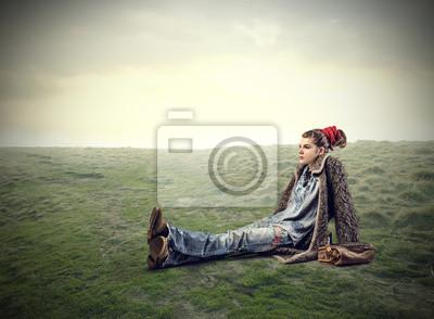 Sitting in a field