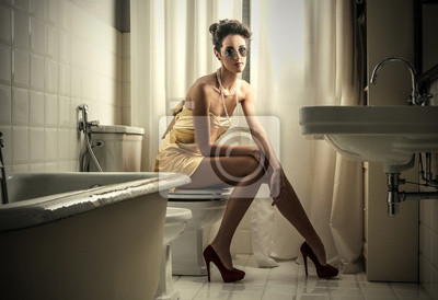Sitting in the bathroom